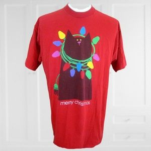 Christmas cat T shirt funny tree lights cotton XL